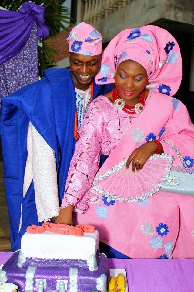 Fabulous African Bride in Pink and Blue!