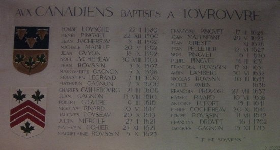 St-Aubin Church in Tourouvre. It shows Canadians baptized in the church.