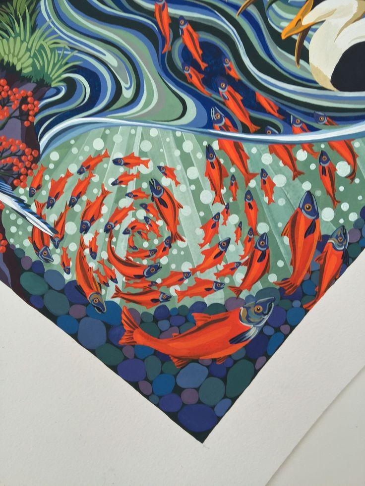 Into The Canadian Wild Hermès Paris silk carré design A/W 2017 collection original painting 90cm x 90cm gouache on paper