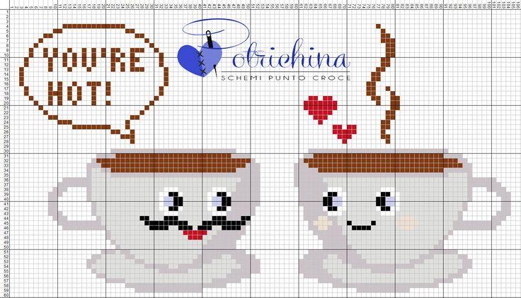 cioccolata calda, autunno, inverno, tazze, cucina, cup - schemi punto croce, cross stitch patterns, Kreuzstich, punto de cruz