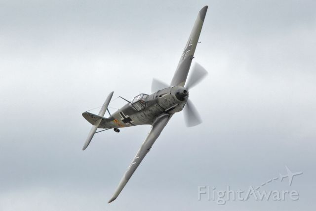 Flying Heritage Collection Messershmitt Bf 109 E-3 banking over Paine Field, Everett, Wa. Canon 5DmkIII w/ 300mm lens.