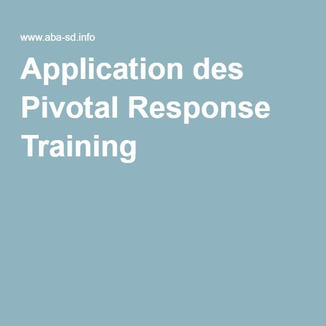 Application des Pivotal Response Training