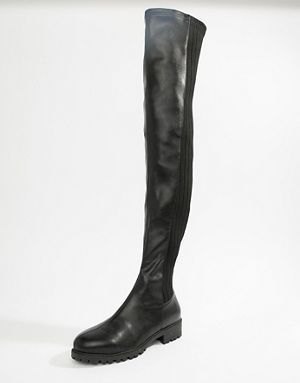 8d9fbf2b704 ASOS DESIGN Krista chunky flat over the knee boots