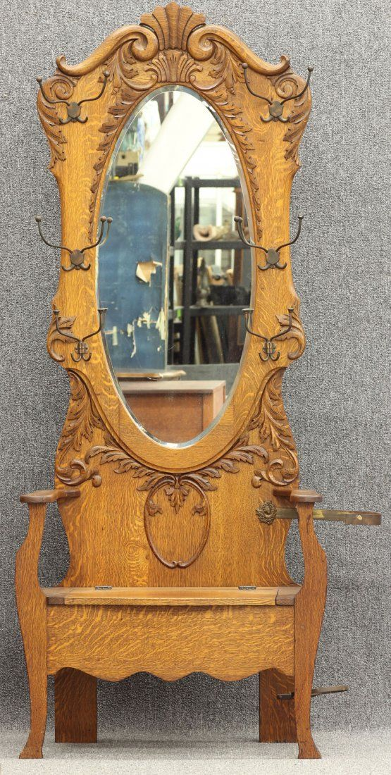 AMERICAN VICTORIAN OAK HALLTREE circa 1900. 66 best Antique Golden Oak furniture images on Pinterest   Antique