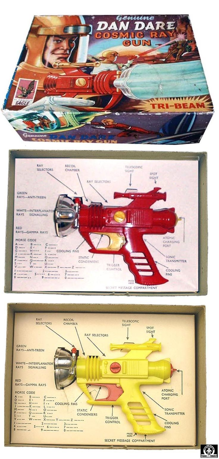 Space Guns - DAN DARE COSMIC RAY GUN - PALITOY - ENGLAND - ALPHADROME ROBOT AND SPACE TOY DATABASE