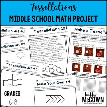 This Tessellations Middle School NO PREP Math Project packet will keep your sixth, seventh, and eighth graders engaged! This packet teaches students about tessellation history, how to make and use tessellations, and how to create beautiful art with shapes.