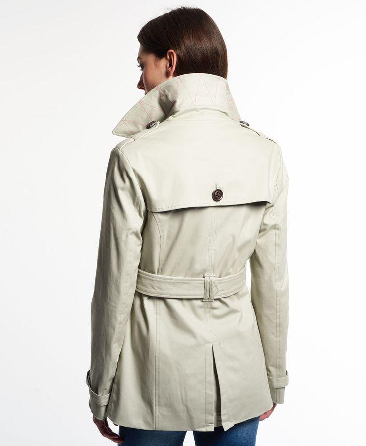 Neue Damen Superdry Jacke Belle Trenchcoat Stone | eBay