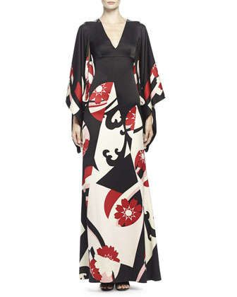 Abstract Floral-Print Kimono Gown, Black Mix by Alexander McQueen at Neiman Marcus.