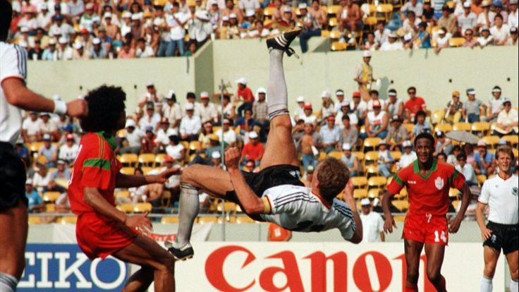 Second round, Karl-Heinz Rummenigge executes an overhead-kick against Morocco,West Germany vs Morroco 1-0
