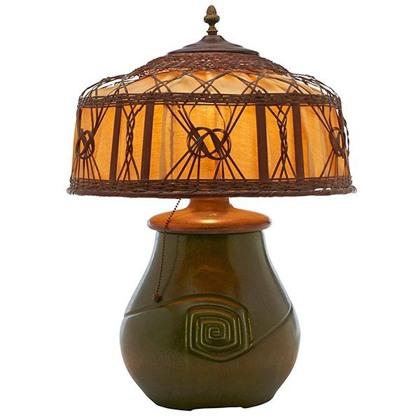 Hampshire Pottery, Table Lamp, Keene, NH, Matte Green
