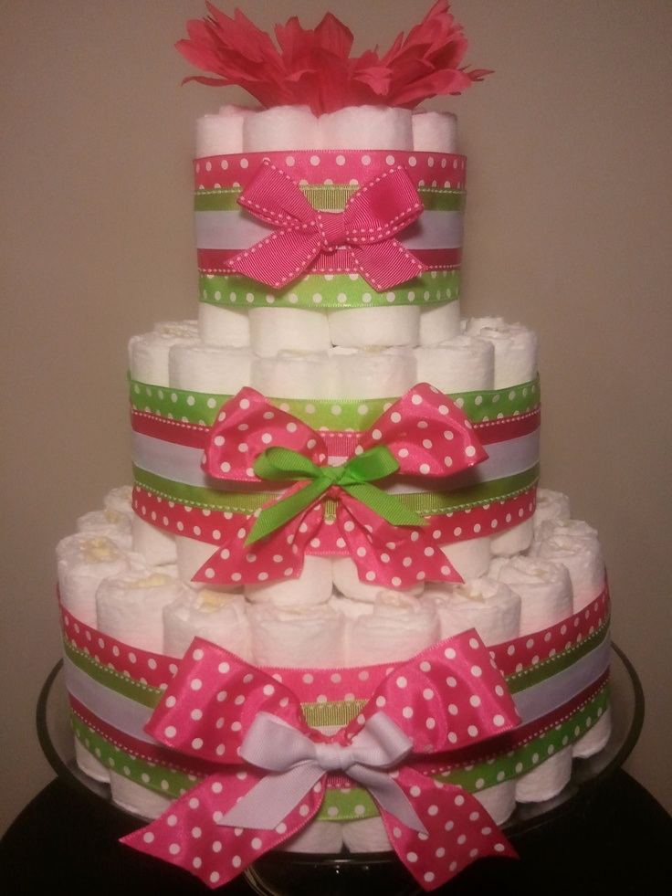 Diaper cake Pretty Pink and Green for future grand ...