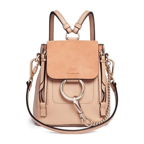 Chloé 'Faye' mini suede flap leather backpack found on Polyvore featuring bags, backpacks, pink, leather daypack, day pack backpack, mini leather backpack, mini backpack and sports backpacks