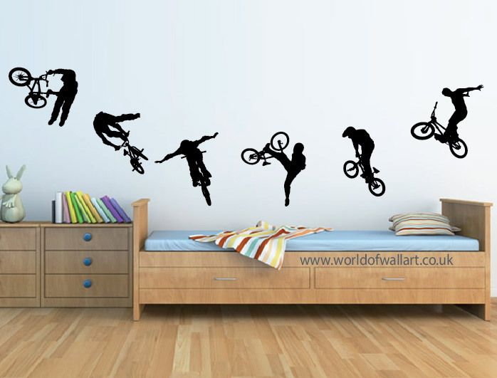 6 Stunt BMX Bikes Wall Stickers, boys bedroom A4 size decals