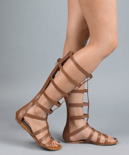 Leatherette Cut Out Strappy Gladiator Knee High Flat Sandals Shoes · Dark TanCheap  ShoesWedding ShoesSodaWomen's ...