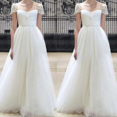 Gorgeous Prom Dress, Tulle Prom Dress, Elegant Prom Dress, Ivory Prom Dress, Floor Length Prom Dress, Cap Sleeve Prom Gowns, Custom Prom Dress
