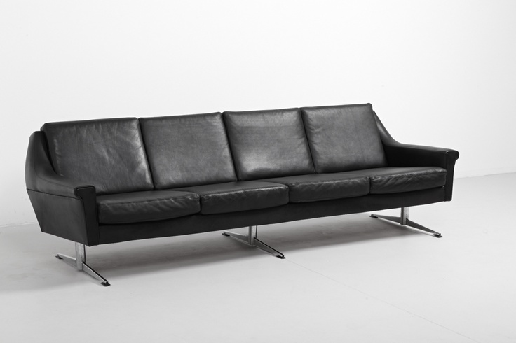 Very cool sofa in black leather from the sixties. Great condition! www.modestfurniture.com SOLD