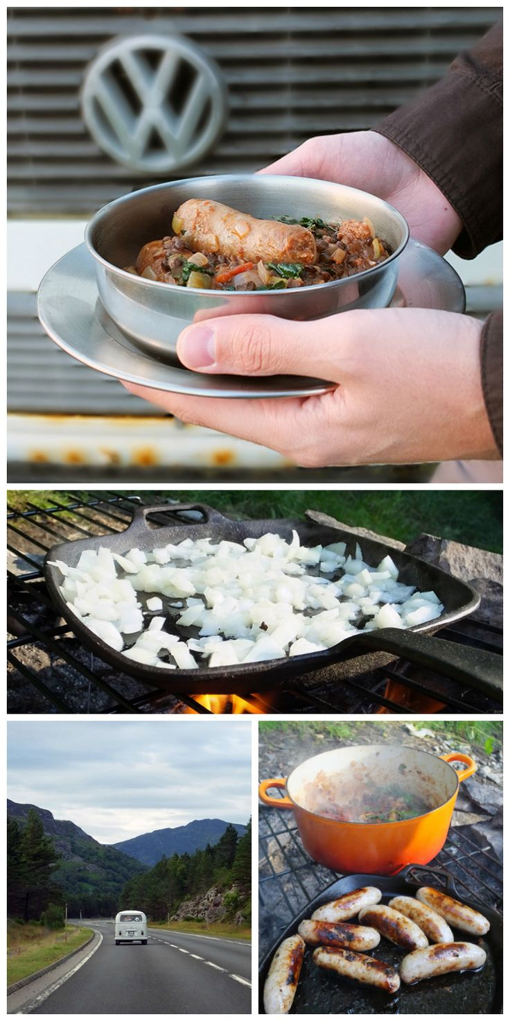 This hearty and filling pork sausage with puy lentils and kale dish tastes extra special when cooked over an open fire while out on a camping adventure. The wood smoke adds that extra dimension. Check out the 'Food Bloggers for Volkswagen' board for more creative travel themed recipe ideas. https://de.pinterest.com/volkswagen/food-bloggers-for-volkswagen/