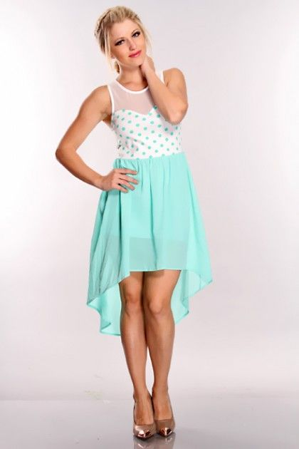 Mint White Polka Dot High Low Hem Dress @ Amiclubwear sexy dresses,sexy dress,prom dress,summer dress,spring dress,prom gowns,teens dresses,sexy party wear,women's cocktail dresses,ball dresses,sun dresses,trendy dresses,sweater dresses,teen clothing,even