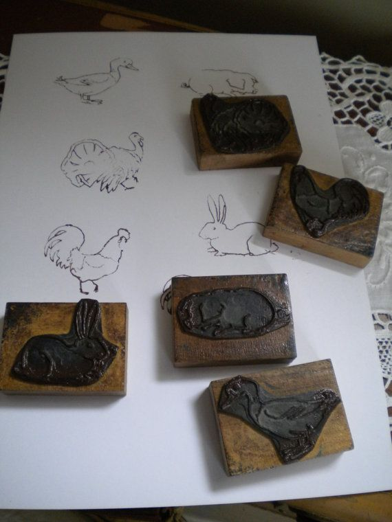 Cinco franceses antigos selos escolares. Animais de fazenda