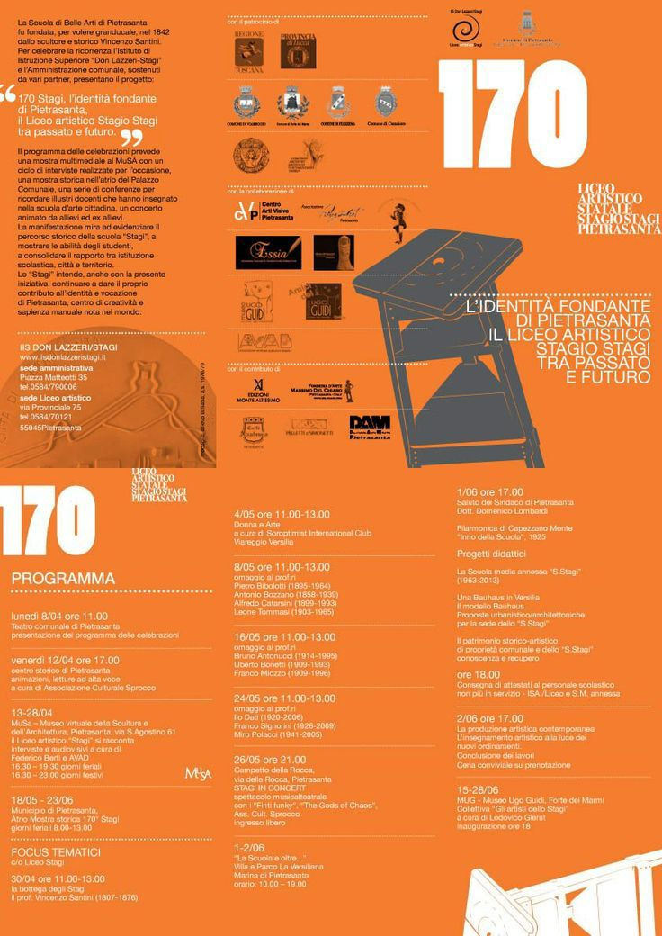 170°Stagi, programma delle celebrazioni, pieghevole (grafica Liceo Stagi + UMID), a.s. 2012/13.
