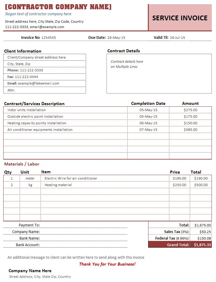 Invoice Template Construction Free  Unable To Process Request