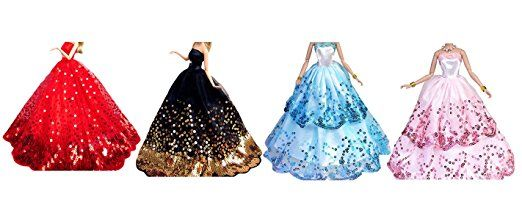 OurKosmos® Splendida partito Handmade abito Vestiti & abiti da sposa accessori bambola Barbie Doll-4PCS