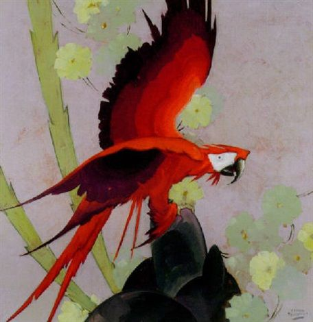 Red parrot alighting on flowery outcrop by Stark Davis