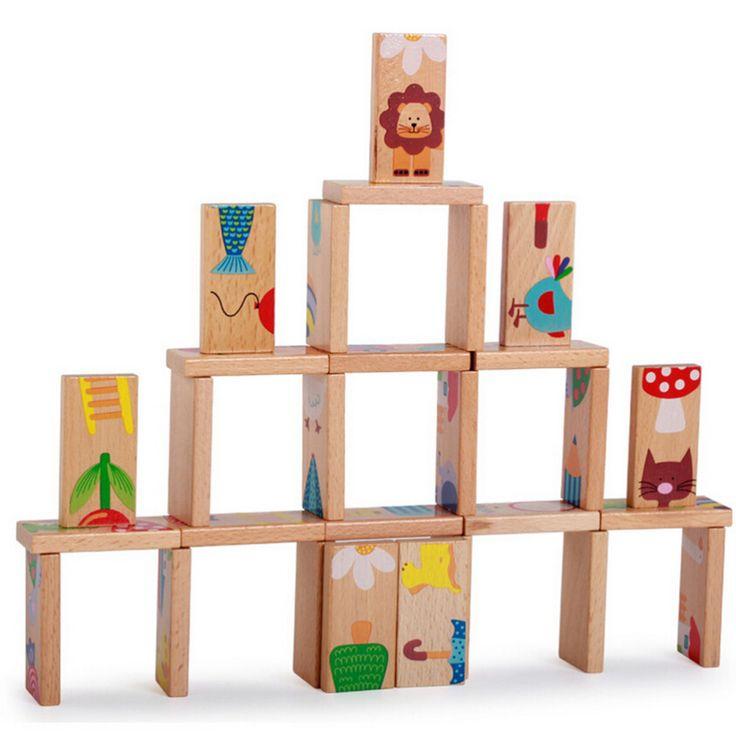 Goedkope 28 Stks Dier Domino Blok Houten Blok Anime Solitaire Montessori…