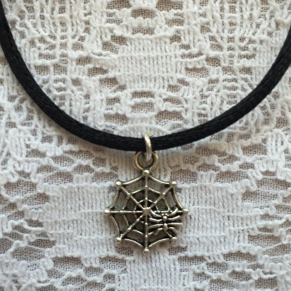 Choker Charm Necklace  Silver Spiderweb 90s Choker Necklace on Black Cord
