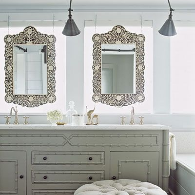 bright cottage bathroom | Cottage Bathrooms love the mirrors in front of the ... | Bathrooms