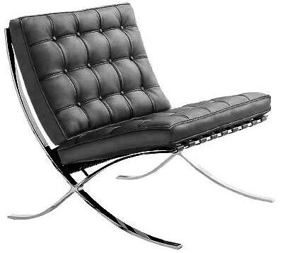 Modernismo Cadeira  Barcelona, 1920, Mies Van der Rohe aço tubular e couro, funcionalidade.