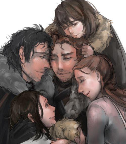House Stark: Robb, Sansa, Arya, Bran, Rickon, & Jon Snow. Winter is coming.