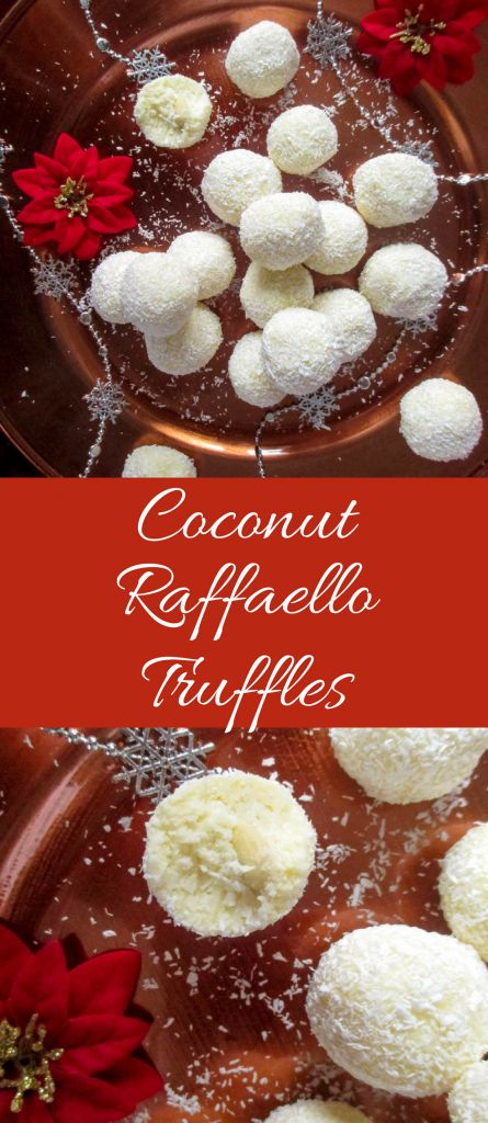 Coconut no-bake truffle candy with an almond inside, ressembling to Raffaello