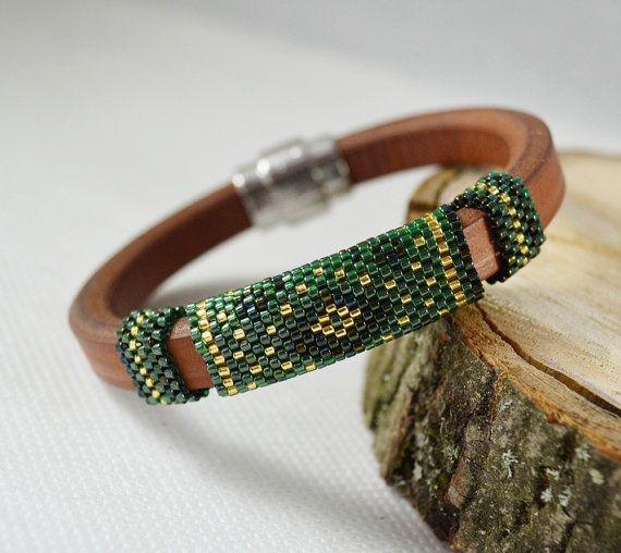 Green Brown Men's braided bracelet strap bracelet for men #BeadedBracelets #MensJewelry
