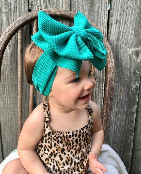 TEAL, Emerald Stretchy Chunky Headband, Big Bow, Headwrap Style Headband, No Tie…   – Head Bands