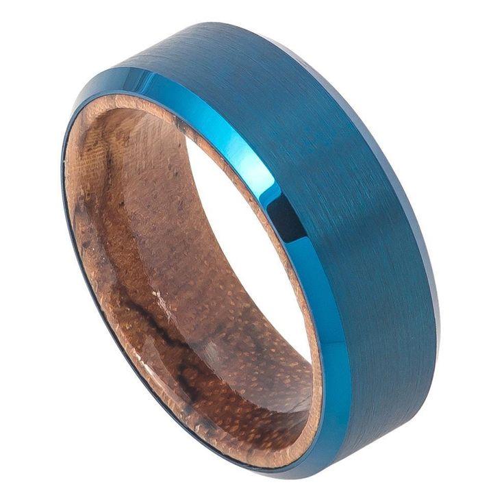 Mens Tungsten Wedding Band Blue IP Plated Brushed Brazilian Mahogany Wood Inner #Band