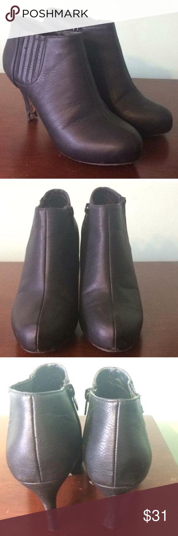 Madden girl size 6.5 cute bootie heel! Has a strip on the inside to avoid blisters being created! Worn, but great pair to wear after rain since you can easily wash off mud or dirt. Good pair to have for not caring what happens to them. Please consider and enjoy! Madden Girl Shoes Heels