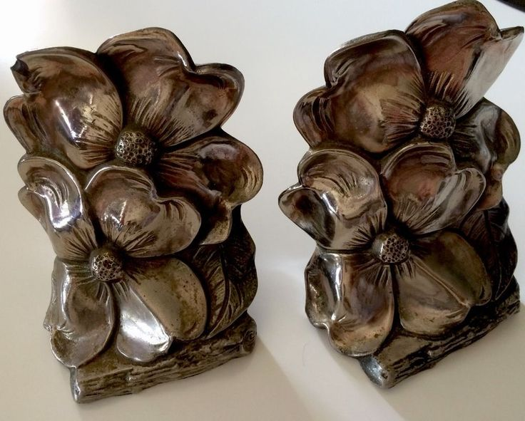 Vintage Floral Bookend Metal Doorstops Flowers Tropical Iron Chippy Worn As Is