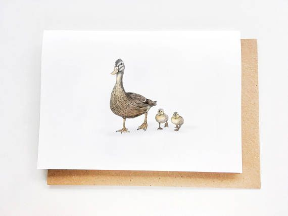 Mama Duck & Ducklings | Sweet Mother's Day Card, Mom Birthday Card, Fête des mores, Madre, Card for mom, Thanks Mom, Happy Mother's Day