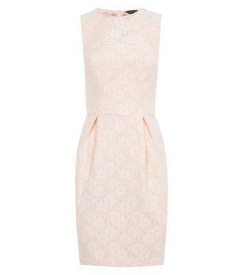 Shell Pink Waist Pleat Lace Dress