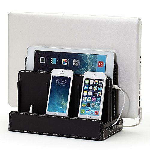 Great Useful Stuff® Black Leatherette Multi-device Charging Station and Dock for iPhone 4 4s 5, iPad Mini, iPad Air, iPad 4, Samsung Galaxy S3 S4, Samsung Galaxy Tab 2 3, MacBook Air, Smartphones & Tablets