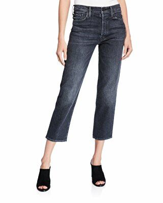 7dcf74ef70956 MOTHER Designer The Tomcat High-Rise Straight Cropped Jeans