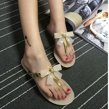 Women Summer Beach Sandals Butterfly Flip flops Breathable T-strappy Slippers - US$13.91