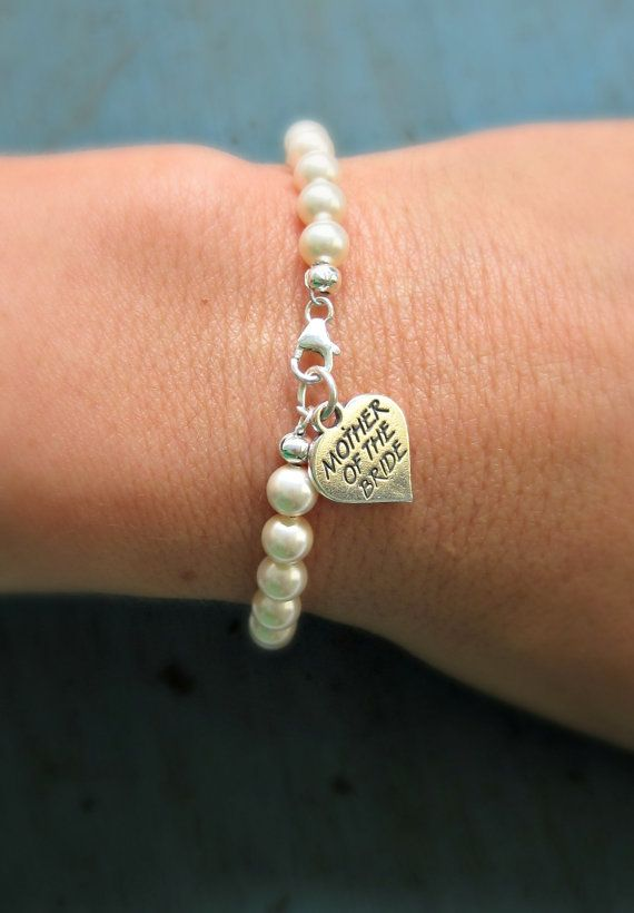 Mother of the Bride Gift Pearl Bracelet Sterling Silver charm Mother of the Groom Gift Wedding Jewelry