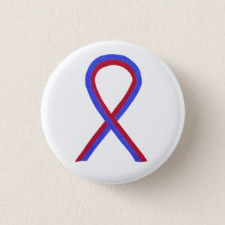 Red and Blue Ribbon Awareness Button Pins- The red and blue awareness ribbon color means supports Noonan Syndrome, Sudden Arrhythmia Death Syndromes (SADS), Congenital Heart Defect, Hypoplastic Left Heart Syndrome, and Pulmonary Fibrosis.
