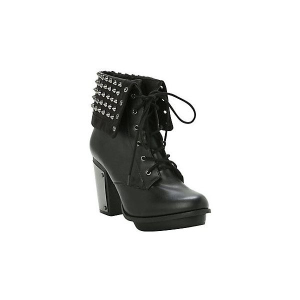 Hot Topic Studded Combat Boot Heel ($52) ❤ liked on Polyvore featuring shoes, boots, ankle booties, metallic booties, combat booties, black high heel booties, black army boots and black studded booties
