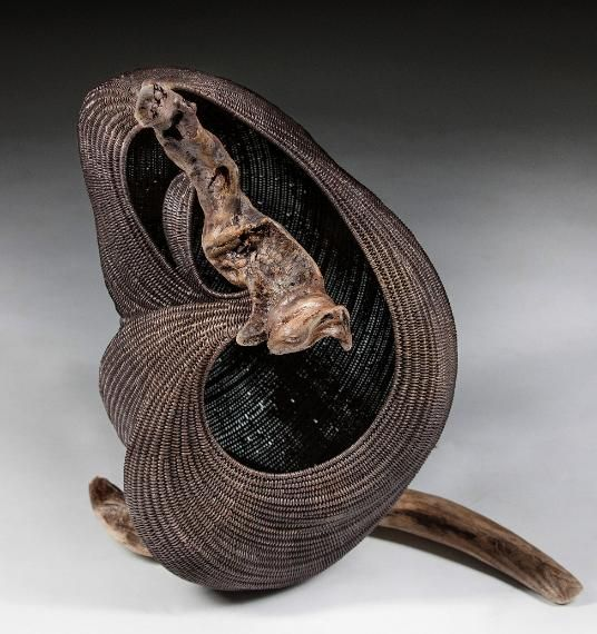 Basket Weaving Dyed Reed : The waterfall s tale  sculptural basket dyed reed