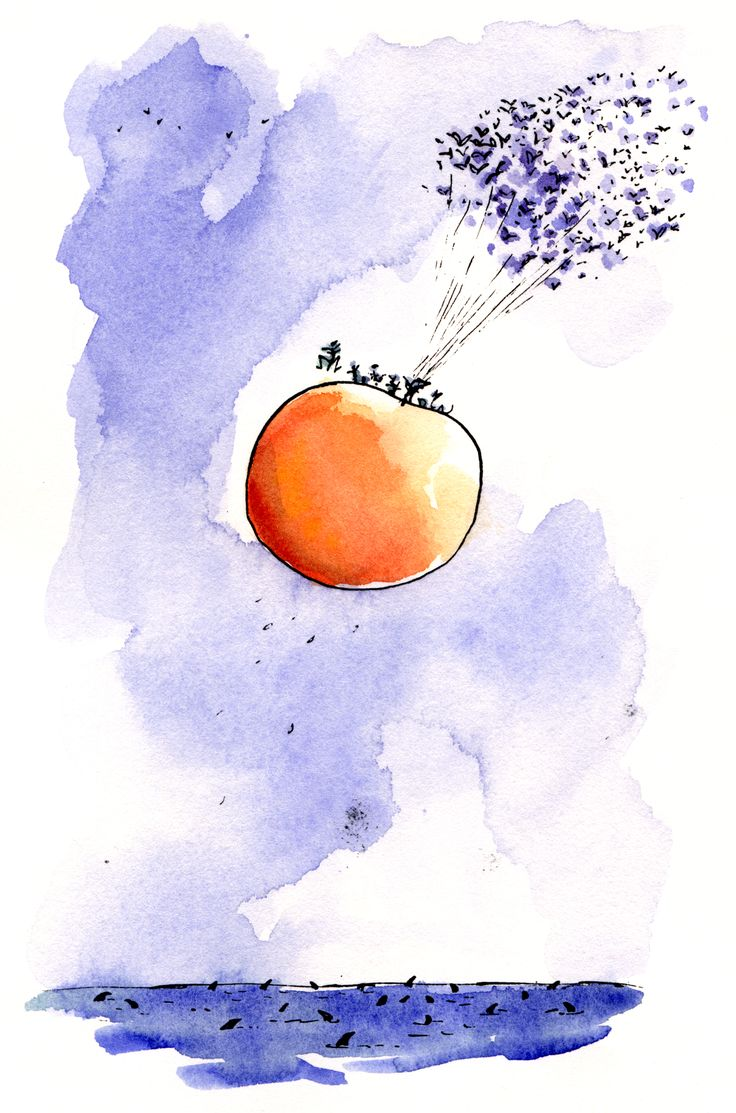 Quentin Blake. Illustration of James and the Giant Peach.