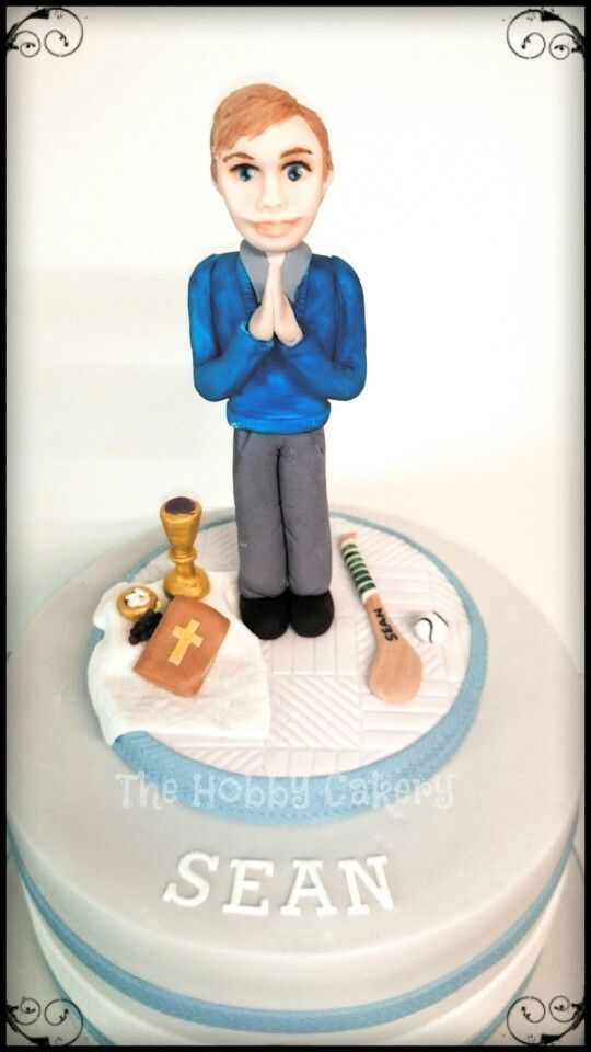 First Holy Communion cake personalised cake topper boy, The Hobby Cakery