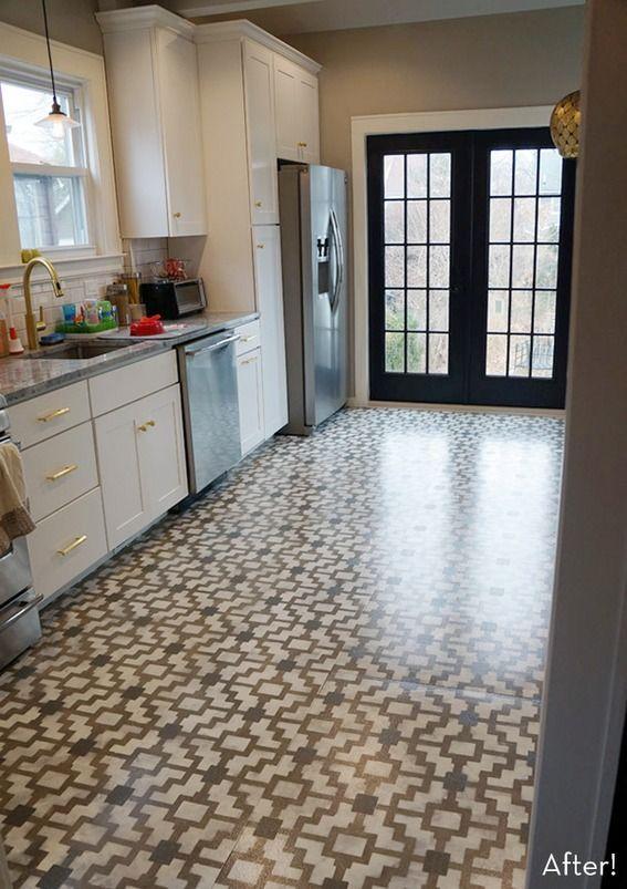 Pattern Pop A Diy Stenciled Kitchen Floor Makeover Kitchen Flooring Concrete Kitchen Floor Flooring